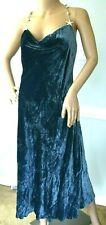 $2,380 Miu Miu by Prada Embellished Crushed Velvet Blue Midi Dress US 6 8  IT 44