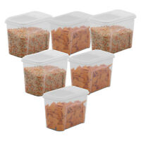 6 Pack Food Storage Dispenser Plastic Container 7.5 Cup Pasta Snack Canister