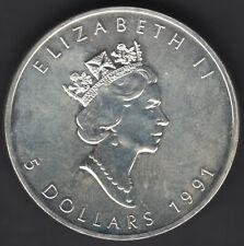Devise 5 Dollars Canada 1991 Elizabeth II 1 OZ Fine Argent