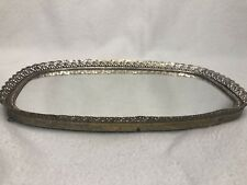 Vintage Oblong Gold Filligree Mirrored Vanity Tray 7.5 x 12