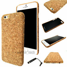 "For Apple iPhone 6 6S 4.7"" Real Natural Cork Textured Hard Case Slim Cover +Pen"