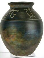 Light Wave Ceramic Pottery Urn Vase Hawaiian Indigenous Petroglyph Dean McRaine