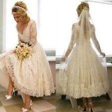 Vintage Wedding Dress Bridal Gown Lace 2020 1950s V Neck Tea Length Custom Made
