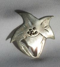 Sterling Silver POINSETTIA Flower Brooch Pin Jewelry Christmas (ac419)