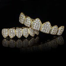 18K Gold Plated High Quality CZ Top & Bottom GRILLZ Mouth Teeth Grills