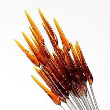 (50) large lampwork Czech topaz twist flower spear art glass craft headpin beads