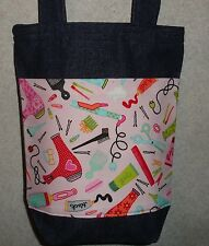 NEW Handmade Hair Hairdresser Stylist Gift Pink Bkgd Small Denim Tote Bag