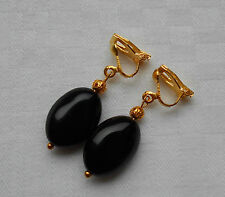 Unique handmade black onyx clip on earrings gold plated oval beads