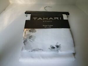 Tahari Watercolor Hollyhocks Fabric Shower Curtain Gray White Floral