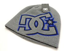 DC Shoes Men's Logo Beanie Knit Hat Grey With Blue & Black Logo New! NWT