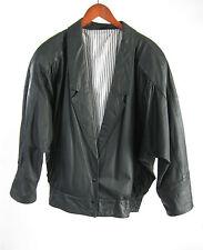 German 80s Echtes Leder Womens Black Oversize Leather Biker Jacket Sz 42 - US 10