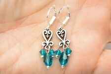 Green Crystal On Lever Back Earrings New listing New Altered Brighton Silver Heart Dangle