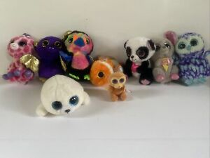 "BEANIE BOOS Small 6"" Mini 3"" Plush Animal Boo's Lot of 9 Set Mouse Owl Toucan"