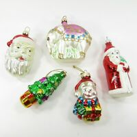 Christmas Ornament Lot Glass Shaped Figural Elephant Santa Tree Snowman Poland