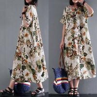 Cotton Ethnic Long Maxi Dress Floral Print Casual Party Kaftan Full Dress Women