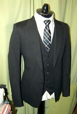NWT DOLCE & GABBANA 3 piece suit solid black 48 38 - tight fit ITALY $3475