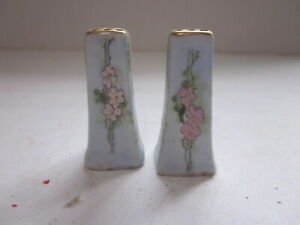 2 ANTIQUE SMALL HAND PAINTED FLORAL DESIGN PERSONAL SALT SHAKERS