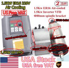 New Listingus15kw Air Cooled Er16 Spindle Motor 400hz Hy Vfd 220v 80mm Bracket Cnc Set