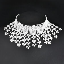 Gothic Fashion Collar WHITE Lace LONG Tassel Choker chain Necklace Jewelry