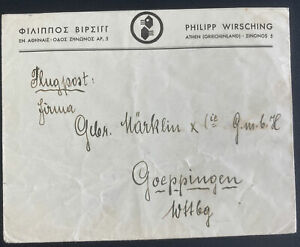 1942 Athens Greece Commercial Censored Cover To Goeppingen Germany