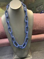 "Navy Blue Woven Seed Bead Chain Link Statement Necklace 28"" Inches Long"