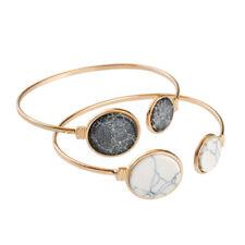 Fashion Charm Women Nature Turquoise Stone Open Adjustable Metal Bangle Bracelet