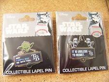 2 - Star Wars Tampa Bay Rays lapel pins Yoda & Darth Vader MLB Disney
