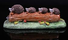 Vintage Basil Matthews Studio Art Pottery Hedgehog Family on Log Figurine