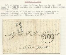 TRANS-ATLANTIC Ship Cover 1857 Paid to Panama New York Steampship 10