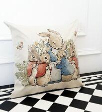 Cream FairyTale Butterfly Rabbit Designer Occasion Linen Nursery Scatter Cushion