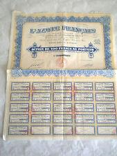 Vintage share certificate Stocks Bonds L'Azote Francais 1930