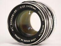 Minolta MC Rokkor-PF 1:1.7 55mm Lens *For Repair* #B008g