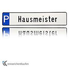 """1 hochwertiges Parkplatz-Kennzeichen   Schild mit der Prägung """"Hausmeister"""""""