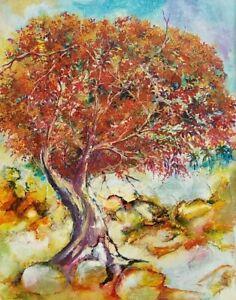 Alberto Carrillo Framboyan 20X16 Cuban Art Original Painting 2011