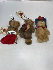 3 Boyds Bears Christmas Ornaments Benson Bushytail Raccoon Milly Peace Stocking