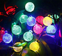 20ft /30 LED Solar String Ball Lights Outdoor Waterproof Warm White Garden Decor