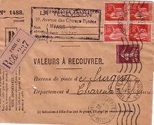 VALEURS A RECOUVRER - PARIS 26-8-1937 - DEVANT DE LETTRE - AFFRANCHISSEMENT TY.