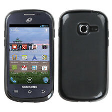 For Samsung Galaxy Centura S738C TPU Gel GUMMY Hard Skin Phone Case Black Smoke