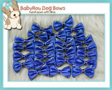 ~BabyRou~ 20pc Dog Grooming Ribbon Pet Bows (Classic Blue & Gold)