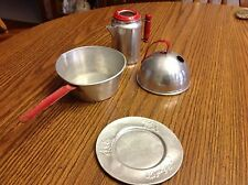 Vintage kids children play toy tin kitchen dishes lot of 4 Used