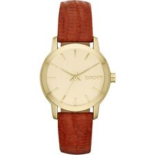DKNY Women Park Avenue Gold Tone Red Orange Python Leather Watch NY8885 New iBox