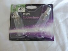 TESCO 2x Cooker Hood Bulbs Small screw cap - 40w E14 - NEW in package