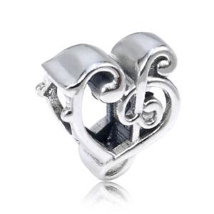 Genuine Pandora Sterling Music Love Note Heart Treble Clef Silver Charm 798346