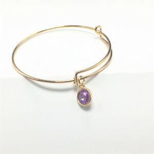 Women'S Gold Tone Expandable Wire Purple Charm With Pendant Bracelet Bangle