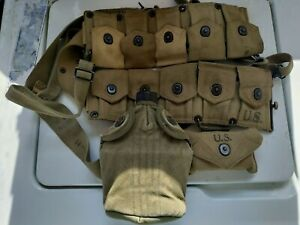 WWII Hinson Ammo Belt with Decanter and First Aid / Dressing Kit