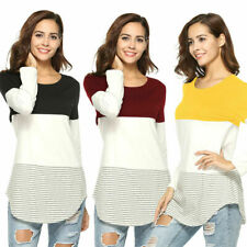 Womens Lady Casual Long Sleeve T-Shirt Top Striped Blouse Trim Round Neck NEW AU