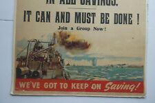 More details for original 1944 wwii wartime framed vintage warship savings poster
