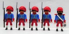 Zouave 4 soldati + ufficiale B PLAYMOBIL accumulare VS SUDISTI ACW CUSTOM
