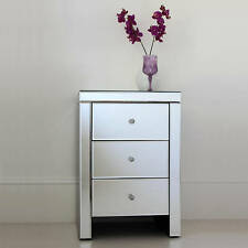 Venetian Mirrored Bedside Table 3 Drawer Mirrored Furniture Cheap - Crystal Knob