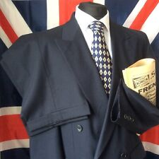 "1940s Style M&S Double Breasted Navy Suit Twin Pleats PTUs  40"" 32"" 29"""